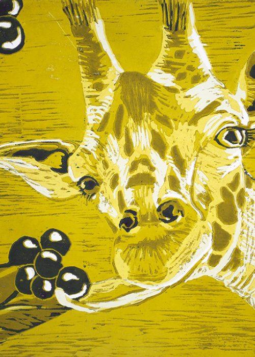 "Holzschnitt Zyklus 1  ""Giraffen"" 4"